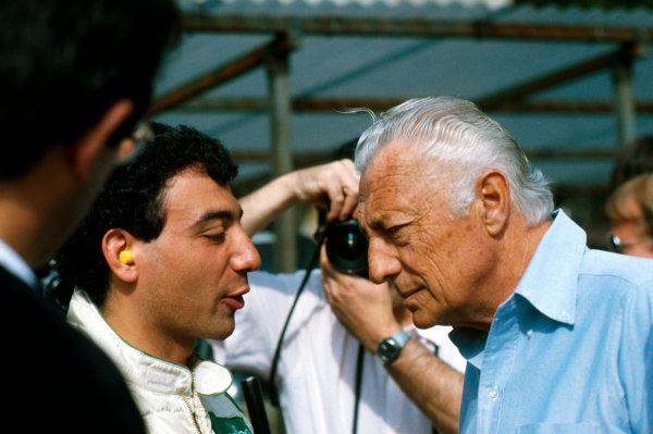 Gianni Agnelli 1922 - 2003 Gianni Agnelli, here seen at a 1984 Monaco Grand Prix with Michele Alboreto. World Copyright: Photo4/LAT Photographic ref: Digital Image Only