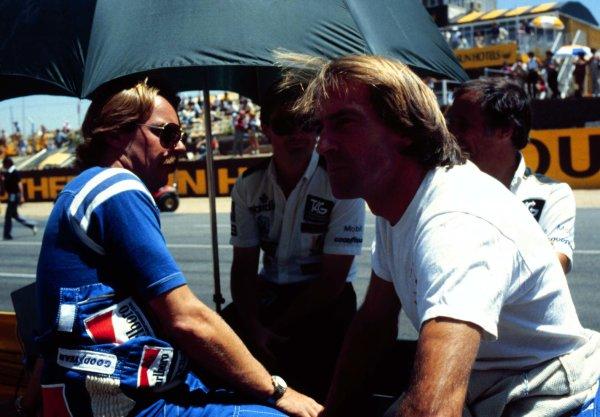 1983 South African Grand Prix.Kyalami, South Africa.13-15 October 1983.Keke Rosberg and Jacques Laffite (Williams Honda).  Ref: 83SA08. World Copyright - LAT Photographic