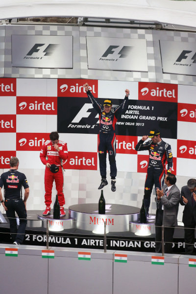 Podium celebrations. Formula One World Championship, Rd17, Indian Grand Prix, Buddh International Circuit, Greater Noida, New Delhi, India, Race, Sunday 28 October 2012.