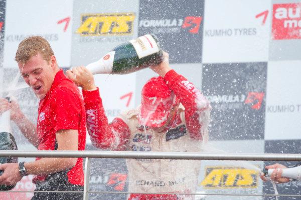 Dijon - Prenois, France. Sunday 11th October. Jules Bianchi (ART Grand Prix Dallara F308 / Mercedes) celebrates winning the 2009 Formula 3 Euro Series on the podium.World Copyright: Alastair Staley/LAT Photographic.Ref: _O9T9772 jpg