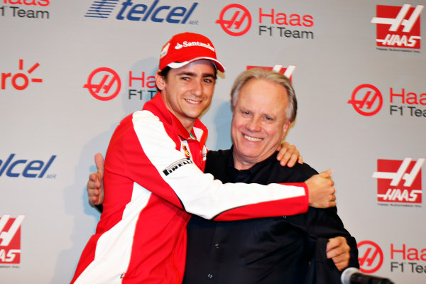 Autodromo Hermanos Rodriguez, Mexico City, Mexico. Saturday 31 October 2015. Esteban Gutierrez is announced as a Haas F1 driver for the 2016 season alongside Gene Haas, Owner and Founder, Haas F1. World Copyright: Steven Tee/LAT Photographic. ref: Digital Image _X0W8486