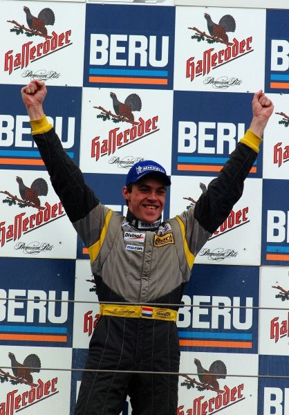 Race 2 winner Ross Zwolsman (NED) ma-con Racing on the podium.