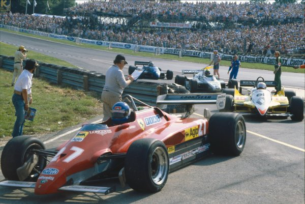 1982 British Grand Prix.Brands Hatch, Great Britain. 18 July 1982. Patrick Tambay (Ferrari 126C2), 3rd position, action. World Copyright: LAT Photographic. Ref: 35mm transparency 82GBR