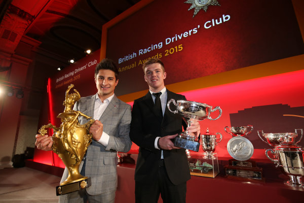 2015 British Racing Drivers Club Awards Grand Connaught Rooms, London Monday 7th December 2015 Mitch Evans and Nick Cassidy, Bruce McLaren Trophy. World Copyright: Jakob Ebrey/LAT Photographic ref: Digital Image EvansCassidy-01