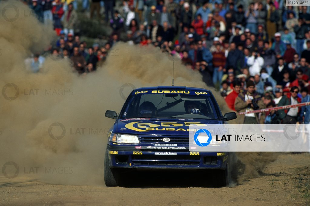 1993 World Rally Championship.Portuguese Rally, Portugal. 3-6 March 1993.Colin McRae/Derek Ringer (Subaru Legacy RS), 7th position.World Copyright: LAT PhotographicRef: 35mm transparency 93RALLY17