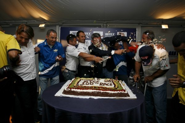 The 100th WTCC race celebrations end in a cake fight.