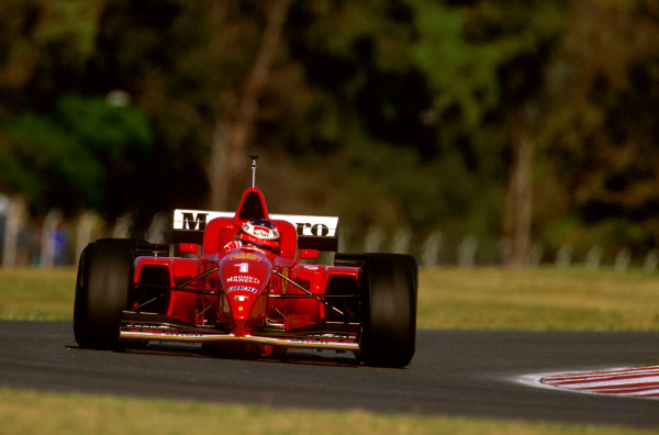 Buenos Aires, Argentina.5-7 April 1996.Michael Schumacher (Ferrari F310) failed to finish after damage to his rear wing.Ref-96 ARG 15.World Copyright - LAT Photographic