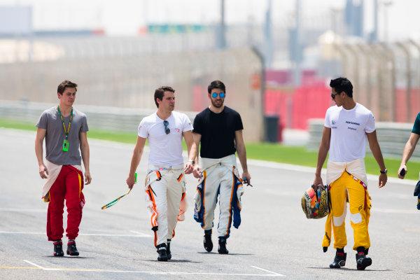 2017 FIA Formula 2 Round 1. Bahrain International Circuit, Sakhir, Bahrain.  Thursday 13 April 2017. Class photo on the grid. Photo: Sam Bloxham/FIA Formula 2. ref: Digital Image _W6I7626