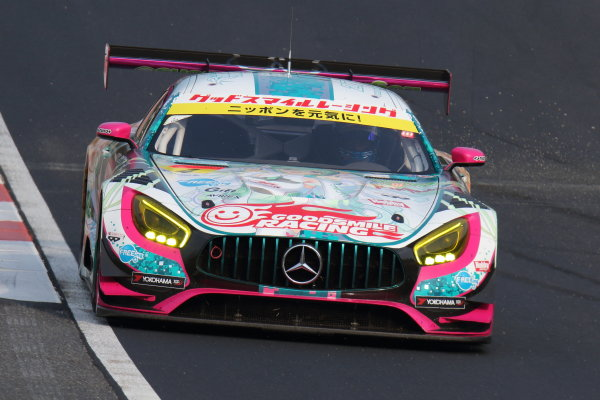 2017 Japanese Super GT Series. Okayama, Japan. 8th - 9th April 2017. Rd 1. GT300 Winner Nobuteru Taniguchi & Tatsuya Kataoka ( #4 GOODSMILE HATSUNE MIKU AMG ) action World Copyright: Yasushi Ishihara / LAT Images. Ref: 2017SGT_Rd1_010