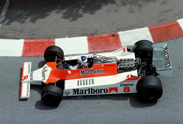 1980 Monaco Grand Prix.Monte Carlo, Monaco.15-18 May 1980.Alain Prost (McLaren M29 Ford) at Lower Mirabeau.Ref-80 MON 40.World Copyright - LAT Photographic