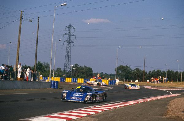 Le Mans, France. 10th - 11th June 1989.Patrick Gonin/Bernard de Dryver/Bernard Santal (Cougar C22LM Porsche), retired, action. World Copyright: LAT Photographic.Ref: 89LM48