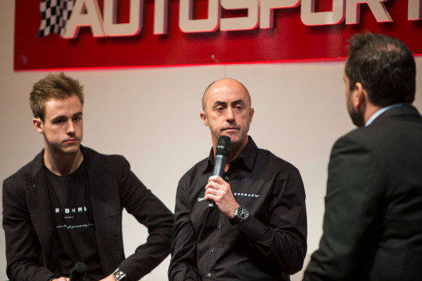 Autosport International Exhibition. National Exhibition Centre, Birmingham, UK. Sunday 11 January 2015. David Brabham and Sam Brabham on the Autosport stage. World Copyright: Malcolm Griffiths/LAT Photographic. ref: Digital Image A50A3069