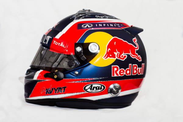 Circuito de Jerez, Jerez, Spain. Tuesday 3 February 2015. Helmet of Daniil Kvyat, Red Bull Racing.  World Copyright: Red Bull Racing (Copyright Free FOR EDITORIAL USE ONLY) ref: Digital Image 2015_RED_BULL_HELMET_11