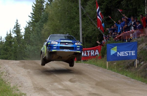 Tommi Makinen (FIN) gets airborne in his Subaru Impreza WRC 2003.