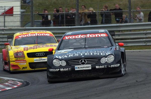 Uwe Alzen (GER), Warsteiner AMG-Mercedes CLK, holds up Laurent Aiello (FRA) Team Abt Sportsline Audi TT.DTM Championship, Rd9, Zandvoort, Holland. 29 September 2002.DIGITAL IMAGE