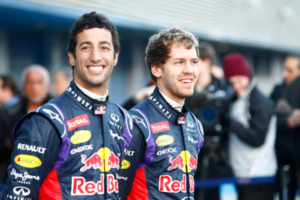 2014 F1 Pre Season Test 1 - Preview Circuito de Jerez, Jerez, Spain. Tuesday 28 January 2014. Sebastian Vettel, Red Bull Racing. and Daniel Ricciardo, Red Bull Racing at the launch of the Red Bull RB10. World Copyright: Alastair Staley/LAT Photographic. ref: Digital Image _A8C7680