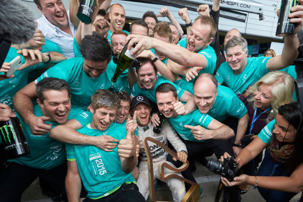 Red Bull Ring, Spielberg, Austria. Sunday 21 June 2015. Nico Rosberg, Mercedes AMG, 1st Position, celebrates with his team. World Copyright: Steve Etherington/LAT Photographic. ref: Digital Image SNE25034