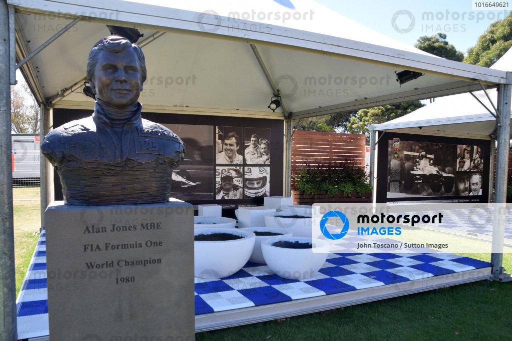 A bust of Alan Jones (AUS). Formula One World Championship, Rd1, Australian Grand Prix, Preparations, Albert Park, Melbourne, Australia, Sunday 9 March 2014.