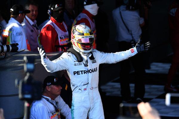 Lewis Hamilton (GBR) Mercedes AMG F1 celebrates in parc ferme at Formula One World Championship, Rd1, Australian Grand Prix, Race, Albert Park, Melbourne, Australia, Sunday 26 March 2017.