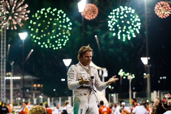 Race winner Nico Rosberg (GER) Mercedes AMG F1 celebrates in parc ferme at Formula One World Championship, Rd19, Abu Dhabi Grand Prix, Race, Yas Marina Circuit, Abu Dhabi, UAE, Sunday 29 November 2015. BEST IMAGE