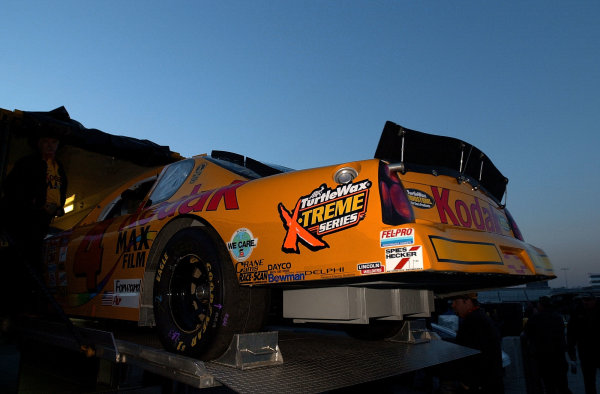 The #4 Monte Carle of Bobby Hamilton,Jr. is unloaded from the hauler at 7:00 am is dawn breaks the Atlanta sky.