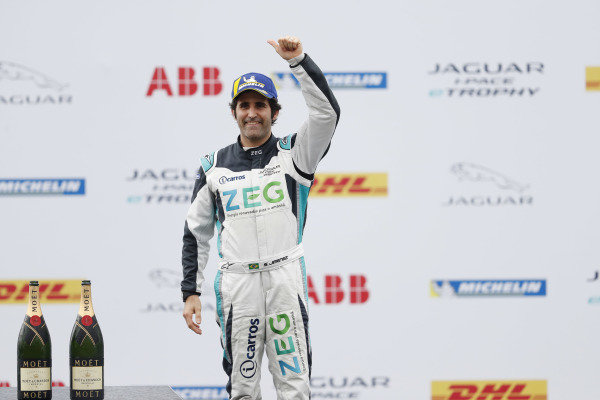 Sérgio Jimenez (BRA), Jaguar Brazil Racing celebrates 3rd position in the PRO class on the podium