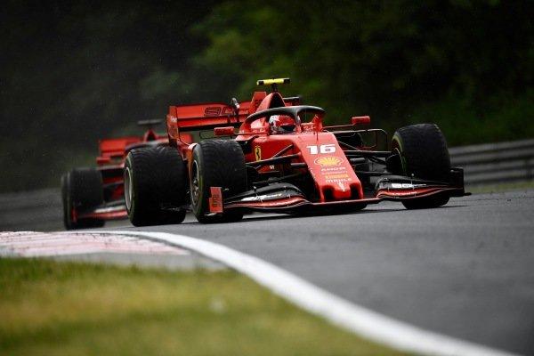 Charles Leclerc, Ferrari SF90, leads Sebastian Vettel, Ferrari SF90