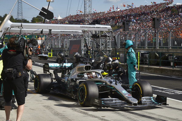 Lewis Hamilton, Mercedes AMG F1 W10, leaves his pit box after a stop
