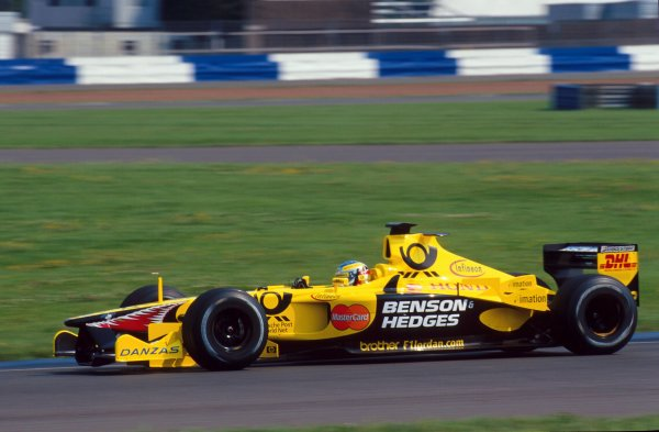2001 Formula One Testing.Silverstone, England. 13th August 2001.Jean Alesi has his first test for the Jordan Honda team, prior to this weekends Hungarian Grand Prix.COPYRIGHT FREE: FOR EDITORIAL USE ONLY.Ref: Digital Image Only