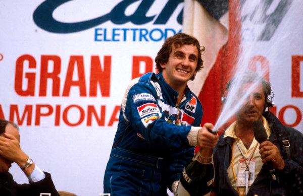 1981 Italian Grand Prix.Monza, Italy.11-13 September 1981.Alain Prost (Equipe Renault) 1st position on the podium.Ref-81 ITA 06.World Copyright - LAT Photographic