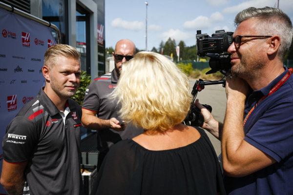 Kevin Magnussen, Haas F1 Team, talks to the media.