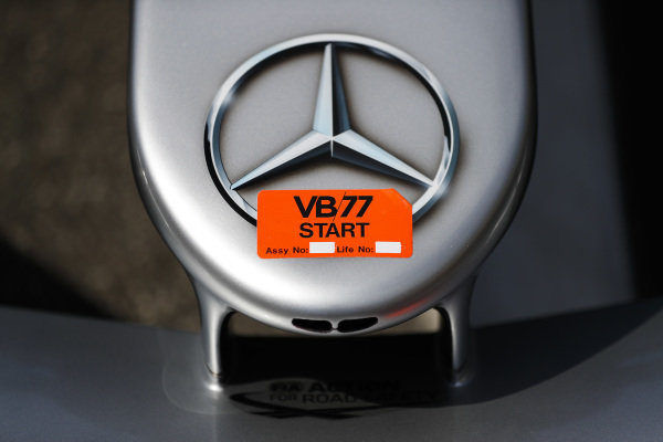 A Mercedes logo on the Valtteri Bottas Mercedes AMG F1 W09.
