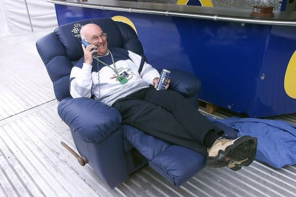 Murray Walker (GBR) ITV Sport Presenter puts his feet up as he comes towards the end of his days in the commentary booth.
