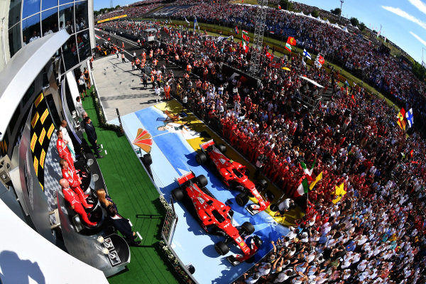 Podium ceremony at Formula One World Championship, Rd11, Hungarian Grand Prix, Race, Hungaroring, Hungary, Sunday 30 July 2017. BEST IMAGE