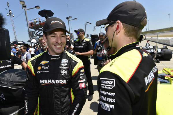 Simon Pagenaud, Team Penske Chevrolet celebrates after winning the pole and the NTT P1 award