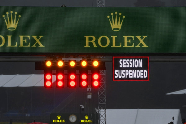 Session suspended sign above the grid