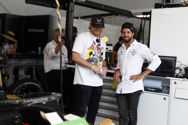 American professional racing driver Conor Daly with Antonio Felix da Costa (PRT), DS Techeetah, in the garage