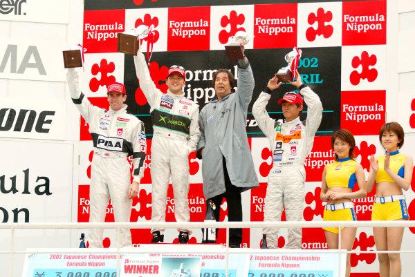 2002 Formula Nippon ChampionshipFuji, Japan. 07th April 2002,Race podium - Satoshi Motoyama (Xbox Impul), 1st, Ralph Firman (PIAA Nakajima), 2nd, Juichi Wakisaka (ATRA), 3rd.World Copyright: Yasushi Ishihara/LAT Photographicref: 8mb Digital Image Only