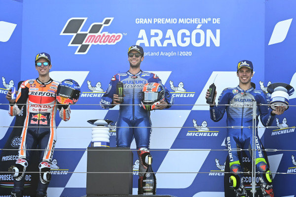 Podium: race winner Alex Rins, Team Suzuki MotoGP, second place Alex Marquez, Repsol Honda Team, third place Joan Mir, Team Suzuki MotoGP.
