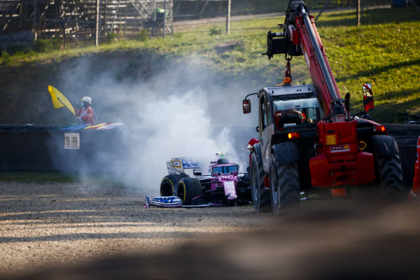 Car of Lance Stroll, Racing Point RP20 being recovered