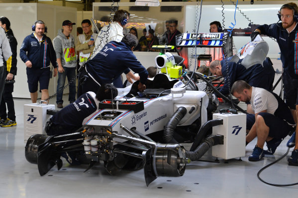Williams FW36 is worked on in the garage. Formula One World Championship, Rd4, Chinese Grand Prix, Qualifying, Shanghai, China, Saturday 19 April 2014.
