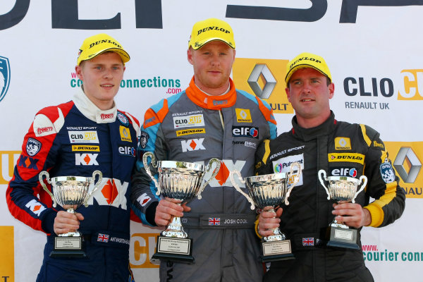2014 Renault Clio Cup, Snetterton, Norfolk. 1st - 3rd August 2014. Race 2 Podium (l-r) Ant Whorton-Eales (GBR) SV Racing Renault Clio Cup, Josh Cook (GBR) SV Racing Renault Clio Cup, Paul Rivett (GBR) WDE Motorsport Renault Clio Cup. World Copyright: Ebrey / LAT Photographic.