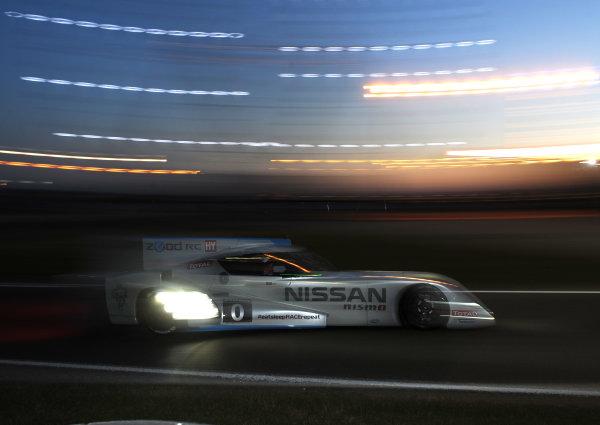 2014 Le Mans 24 Hours. Circuit de la Sarthe, Le Mans, France. Thursday 12 June 2014.  Lucas Ordonez/Wolfgang Reip/Satoshi Motoyama, Nissan Motorsports Global, No.0 Nissan Zeod RC.  World Copyright: Jeff Bloxham/LAT Photographic. ref: Digital Image DSC_3287