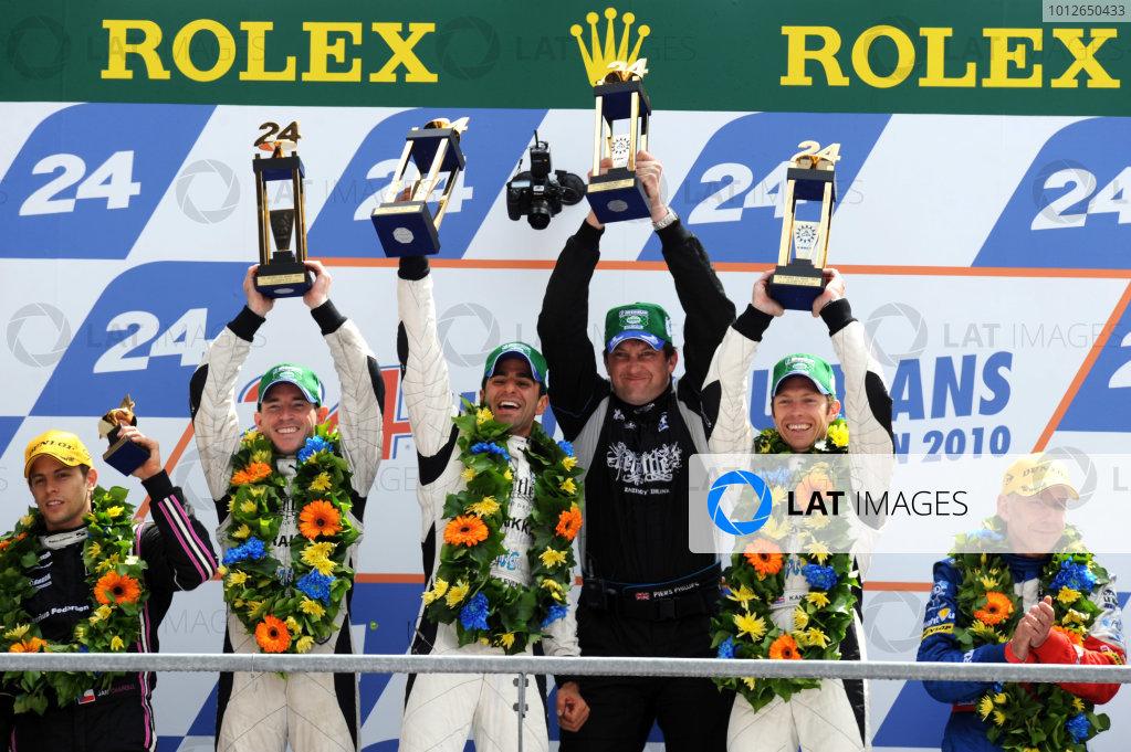 Circuit de La Sarthe, Le Mans, France. 6th - 13th June 2010.Nick Leventis / Danny Watts / Jonny Kane, Strakka racing, No 42 HPD ARX-01c, LMP2 winners, on the podium. Portrait. Podium. World Copyright: Jeff Bloxham/LAT PhotographicDigital Image DSC_1737 JPG