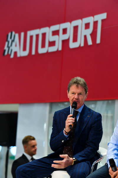 Autosport International Exhibition. National Exhibition Centre, Birmingham, UK. Thursday 11th January 2018. Malcolm Wilson talks to Henry Hope-Frost on the Autosport Stage. World Copyright: Mark Sutton/Sutton Images/LAT Images Ref: DSC_6575