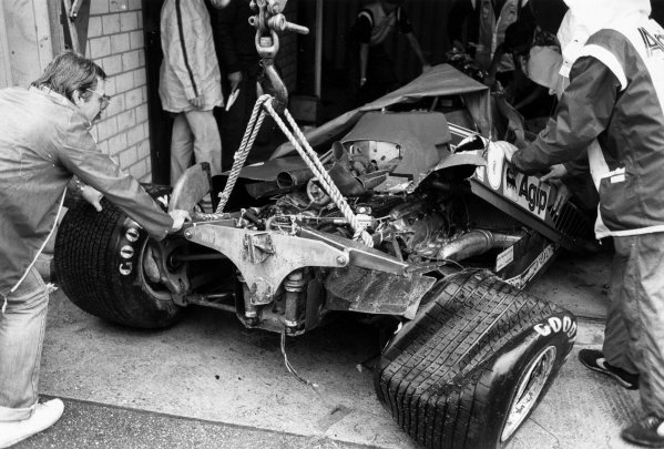Hockenheim, Germany.6th - 8th August 1982.The wreckage of Didier Pironi's Ferrari 126C2 after crashing into Alain Prost during qualifying. Pironi already had pole position.Ref- B/WPRINT.World Copyright - LAT Photographic