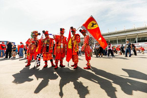Suzuka Circuit, Japan. Sunday 08 October 2017. Ferrari fans. World Copyright: Glenn Dunbar/LAT Images  ref: Digital Image _31I7305