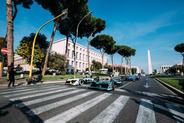 2017/2018 FIA Formula E Championship. Street Demonstration - Rome, Italy. Nelson Piquet Jr. (BRA), Panasonic Jaguar Racing, Jaguar I-Type II leads Lucas Di Grassi (BRA), Audi Sport ABT Schaeffler, Audi e-tron FE04 leads Sebastien Buemi (SUI), Renault e.Dams, Renault Z.E 17  leads Luca Filippi (ITA), NIO Formula E Team, NextEV NIO Sport 003. Thursday 19 October 2017. Photo: Malcom Griffiths/LAT/Formula E ref: Digital Image MALC0794