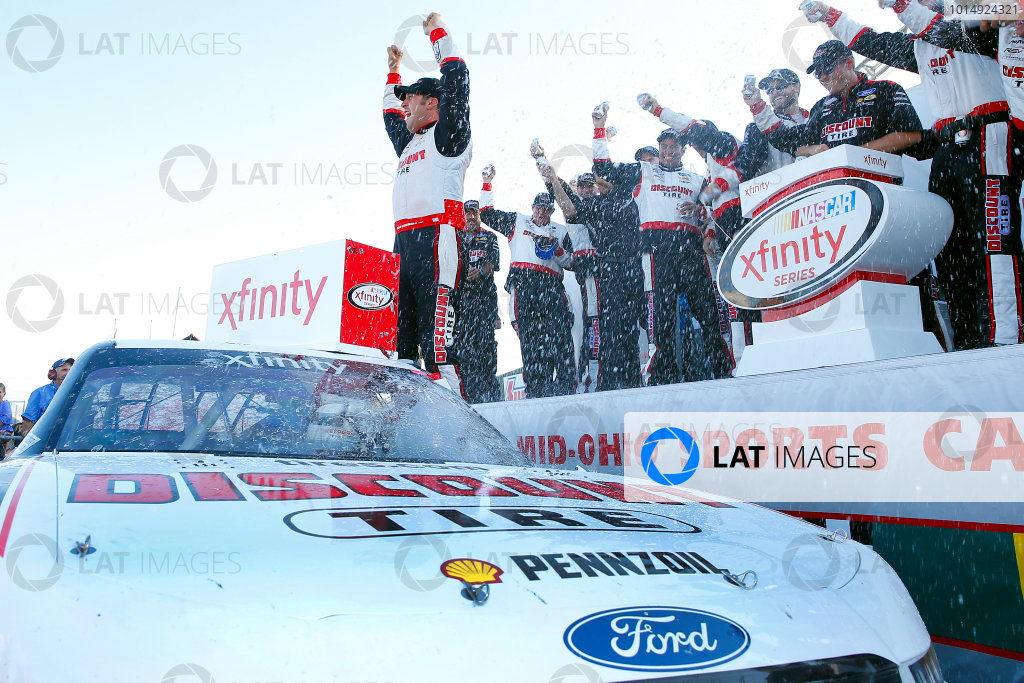 NASCAR XFINITY Series Mid-Ohio Challenge Mid-Ohio Sports Car Course, Lexington, OH USA Saturday 12 August 2017 Sam Hornish Jr, Discount Tire Ford Mustang celebrates in victory lane World Copyright: Russell LaBounty LAT Images