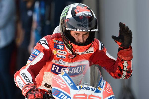 2017 MotoGP Championship - Round 14 Aragon, Spain. Saturday 23 September 2017 Jorge Lorenzo, Ducati Team World Copyright: Gold and Goose / LAT Images ref: Digital Image 13639
